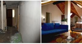 Mansarda: il soggiorno prima e dopo