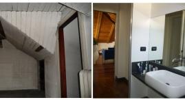 Un bagno con velux e' stato ricavato tra le due camere da letto