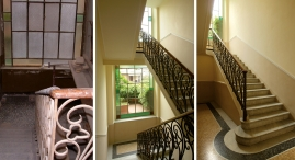 Restauro della ringhiera della scala; sostituzione del vecchio pavimento in piastrelle con mosaico in marmi policromi