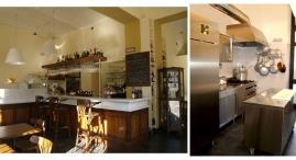 Il bancone con l'accesso alla cucina