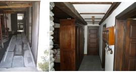 Il pavimento e' stato sollevato da terra con igloo; un vecchio armadio restaurato separa il corridoio dal soggiorno