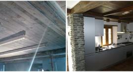 Il soffitto in legno era anche pavimento del primo piano. Dopo un accurato lavoro di restauro del soffitto e' stata creata una soletta di cemento armato per il primo piano con adeguata coibentazione termica ed acustica