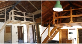 Il sottotetto originale era accessibile attraverso una botola; oggi dopo il rifacimento del tetto e' stato reso aperto sul soggiorno e l'accesso e' garantito da una struttura in legno rifatta nello stile della baita